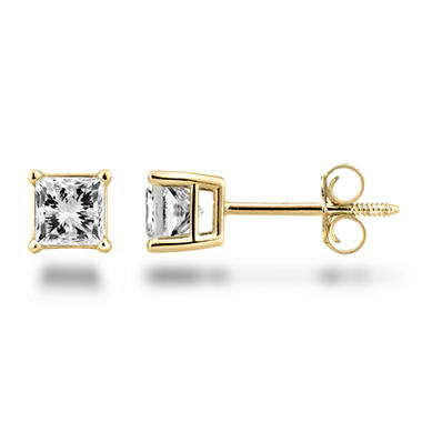 0.72 ct. t.w. Princess Diamond Stud Earrings in 14K Yellow Gold (H-I, SI2)