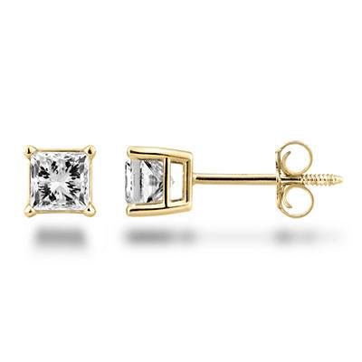 0.72 ct. t.w. Princess Diamond Stud Earrings in 14K Yellow Gold (H-I, SI2)