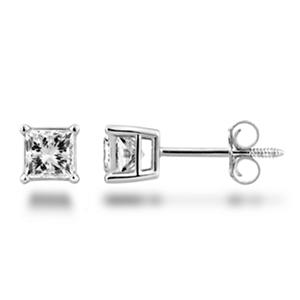 0.72 ct. t.w. Princess Diamond Stud Earrings in 14k White Gold (H-I, SI2)