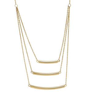 Layered Graduated Bar Necklace in 14K Yellow Gold