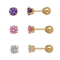 Children's Stud Earring Set with Swarovski Crystal in 14K Yellow Gold