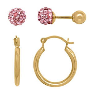 Children's Earring Set with Pink Swarovski Crystal in 14K Yellow Gold