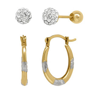 Children's White Swarovski Crystal Earring Set in14K Yellow Gold