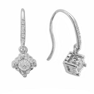 .20 CT. T.W. Silver and Diamond Drop Earrings (I, I1, IGI Appraisal Value: $270)