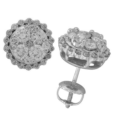 1.50 CT T.W. Diamond Cluster Stud Earrings (I, I1)