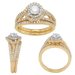 1.00 CT. T.W. Diamond Bridal Set in Two Tone 14 Karat Gold (I, I1, IGI Appraisal Value: $2,025.00)