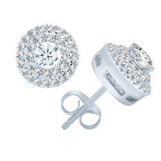 1.00 CT T.W. Diamond 14K White Gold Stud Earrings (I, I1, IGI Appraisal Value: $2,070)