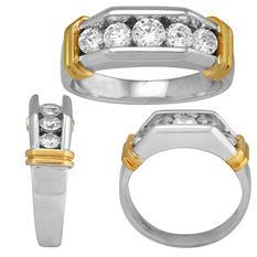 1.00 CT. T.W. Men's Diamond 14 Karat Two Tone Ring (I, I1, IGI Appraisal Value: $1,790.00)