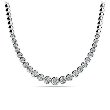 4 CT. TW. Bezel Set Diamond Riviera Necklace in 14K White Gold