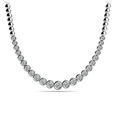 4 CT. TW. Bezel Set Diamond Riviera Necklace in 14K White Gold