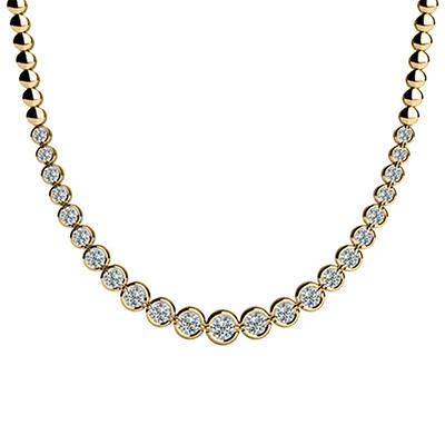 4 CT. TW. Bezel Set Diamond Riviera Necklace in 14K Yellow Gold