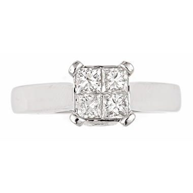 1.00 ct. t.w. Princess Diamond Bridal Ring in 14k White Gold (H-I, I1)
