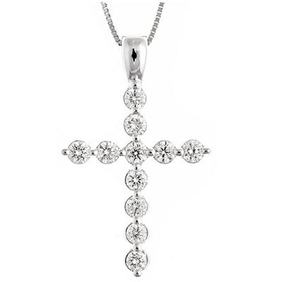 0.45 ct. t.w. Regal Diamond Cross Pendant in 14k White Gold (I, SI2)