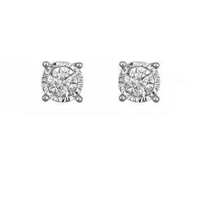 0.58 ct. t.w. Framed Round Diamond Stud Earrings in 14k White Gold (I, I1)