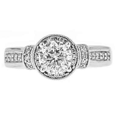 1.25 ct. t.w. Round Cut Diamond Bridal Ring in 14k White Gold