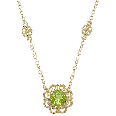 6mm Peridot Necklace With Diamond Accent in 14K Yellow Gold