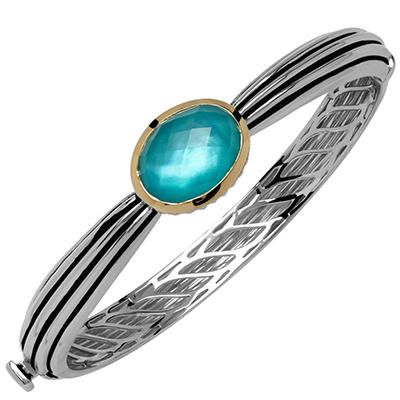 Town and Country Sterling Silver and 14K Yellow Gold Doublet Bangle Bracelet With Quartz and Mother of Pearl in Teal