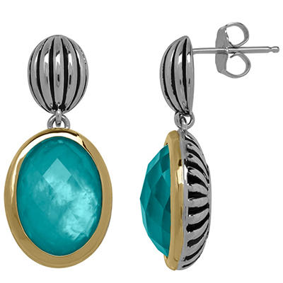 Town and Country Sterling Silver and 14K Yellow Gold Doublet Earrings With Quartz and Mother of Pearl in Teal