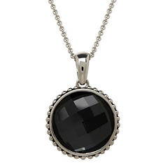 Town and Country Quartz, Black Hematite, and Mother of Pearl Reversible Doublet Pendant in Sterling Silver