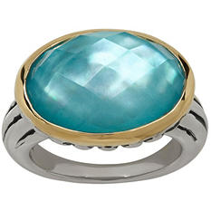 Town and Country Sterling Silver and 14K Yellow Gold Doublet Ring With Quartz and Mother of Pearl in Teal