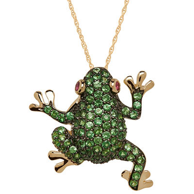 Tsavorite and Ruby Frog Pendant in 14K Yellow Gold
