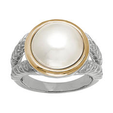 12 mm Freshwater Cultured Pearl Ring in Sterling Silver and 14K Yellow Gold