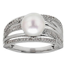 8 mm Freshwater Cultured Pearl Ring with 0.24 ct. t.w. Diamonds in Sterling Silver