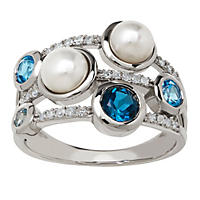 5 - 5.5 mm Pearl Ring with Blue Topaz and Diamond in Sterling Silver