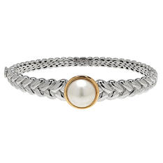12 mm Freshwater Cultured Pearl Bracelet in Sterling Silver and 14K Yellow Gold