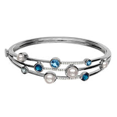 4.5 - 6.5 mm Freshwater Cultured Pearl Bracelet with Blue Topaz and Diamond in Sterling Silver