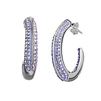 Purple Crystal J-Hoop Earrings