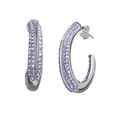 Purple Crystal J-Hoop Earrings