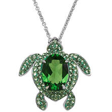 Green Crystal Turtle Pendant in Sterling Silver
