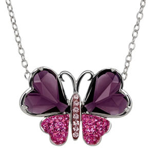 Purple and Pink Crystal Butterfly Necklace in Sterling Silver