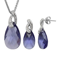 Purple Crystal Brio Pendant and Earring Set in Sterling Silver