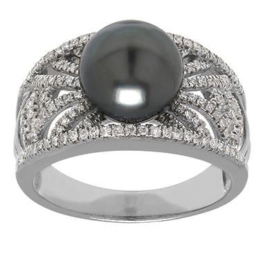 9 mm Tahitian Pearl Ring with .34 ct. t.w. Diamonds in 14K White Gold