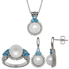 8 mm - 10 mm Freshwater Cultured Pearl 3-Piece Set with Blue Topaz and White Topaz in Sterling Silver
