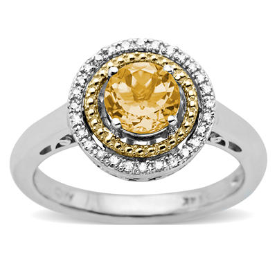 Citrine and Diamond Accent Birthstone Ring in Sterling Silver and 14k Yellow Gold
