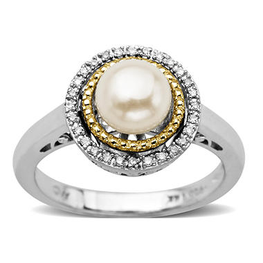 Freshwater Pearl and Diamond Accent Birthstone Ring in Sterling Silver and 14k Yellow Gold