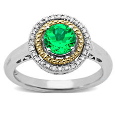 Created Emerald and Diamond Accent Birthstone Ring in Sterling Silver and 14k Yellow Gold