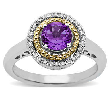 Amethyst and Diamond Accent Birthstone Ring in Sterling Silver and 14k Yellow Gold