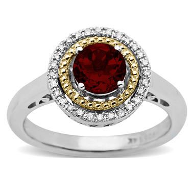 Garnet and Diamond Accent Birthstone Ring in Sterling Silver and 14k Yellow Gold