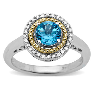 Licensed Blue Topaz and Diamond Accent Birthstone Ring in Sterling Silver and 14k Yellow Gold