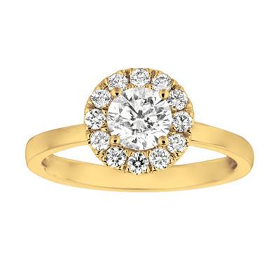 1.00 CT. T.W. Round-Cut Diamond Halo Ring in 14K Yellow Gold (I, I1)