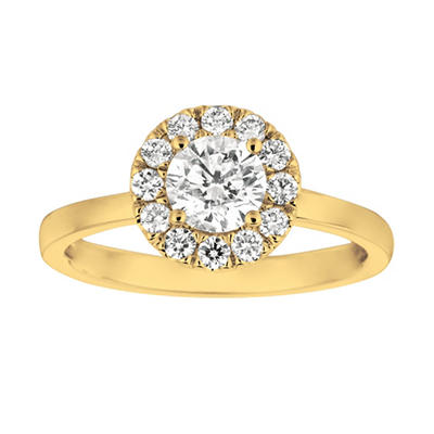 1.00 CT. T.W. Round-Cut Diamond Halo Ring in 14K Yellow Gold (I, I1)