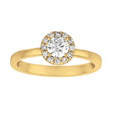 0.50 CT. T.W. Round-Cut Diamond Halo Ring in 14K Yellow Gold (I, I1)