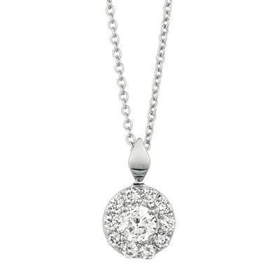 0.50 CT. T.W. Round-Cut Diamond Halo Pendant in 14K White Gold (I, I1)