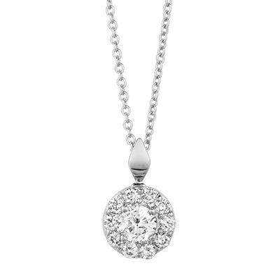 0.50 CT. T.W. Round-Cut Diamond Halo Pendant in 14K White Gold (I, I1)