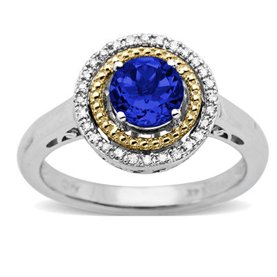 Created Sapphire and Diamond Accent Birthstone Ring in Sterling Silver and 14k Yellow Gold