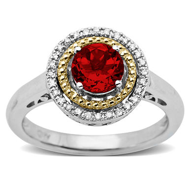 Created Ruby and Diamond Accent Birthstone Ring in Sterling Silver and 14k Yellow Gold